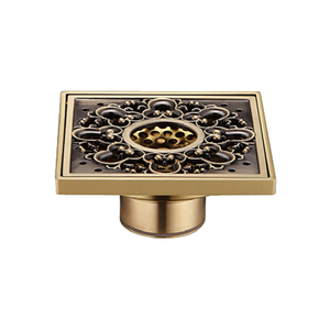 Modern Types PVD Gold Brass Bathroom Floor Drain Trap