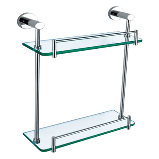 Wall Mounted Dual Glass Shelf In Brass