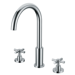 3 Hole Modern Deck Mount Dual Handle Bathroom Faucet In Chrome