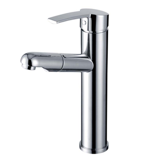 Modern single handle bathroom lavatory faucet with pull-out