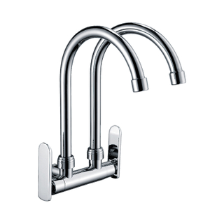 Deck Mounted Universal Double Handle Kitchen Faucet