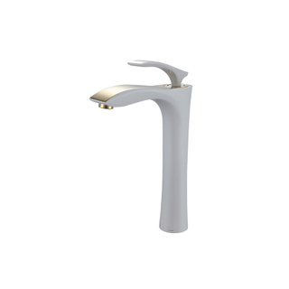 White Paint Single Handle Bathroom Sink Faucet