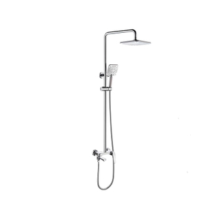 Modern Exposed Rain Shower Combo Set In Polished Chrome