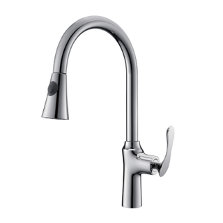 New High Arc One Hole Brass Kitchen Faucet In Black Paint