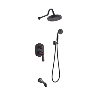One Handle Shower Faucet With Hand Shower And Valve In Bronze