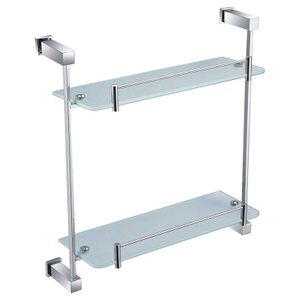 Polished Square Brass Double Glass Shelf For Bathroom