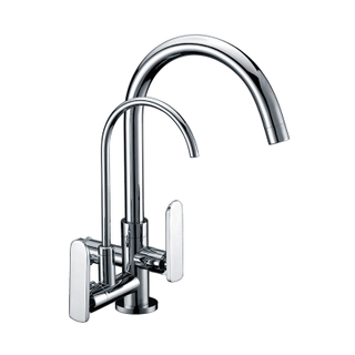 Wall Mounted Dual Handle Brass Water Kitchen Tap Mixer Faucet