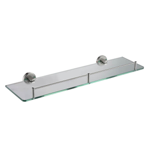 Bathroom Single Glass Shelf | Wall Mounted Stainless Steel Tempered Glass Shelf | Round Style Glass Shelf Holder